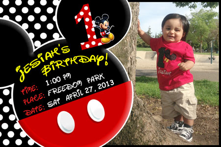Cutom Mickey Mouse Invitation